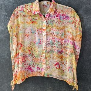 AMERICAN RAG | Cropped Floral Sheer Button Blouse